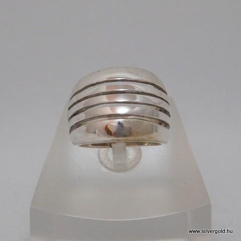 Keskeny unisex ezüst rostélyos gyűrű