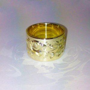 Arany Kalocsai mintás csőgyűrű