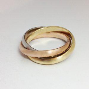 Cartier fazonú három színű arany gyűrű
