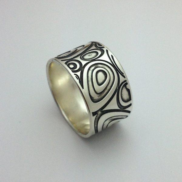 Mintás ,széles ezüst gyűrű